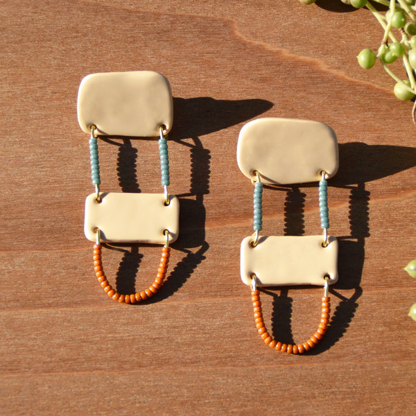 Blue and Pumpkin Beads and Cream Polymer Clay Statement Earrings