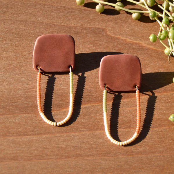 Tricolored Beads and Terra Cotta Polymer Clay Statement Earrings