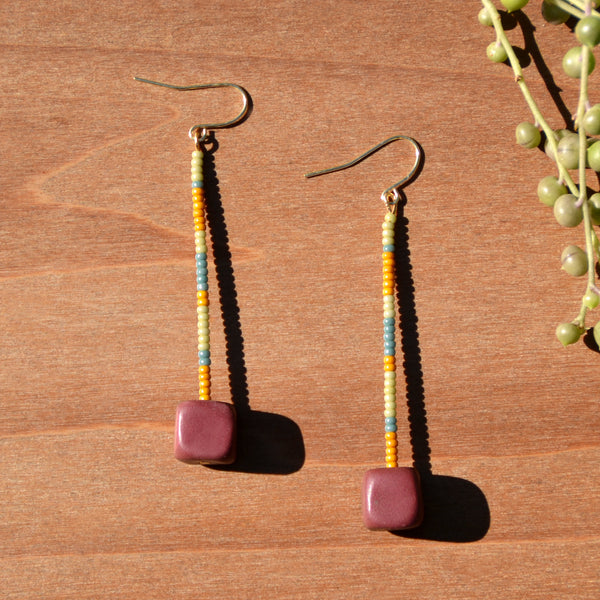 Multicolored Beads and Cube Polymer Clay Statement Earrings