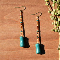 Amber and Teal Beaded Polymer Clay Statement Earrings by JAX Atelier