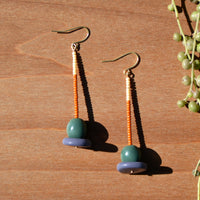 Cream and Pumpkin Beads and Abstract Polymer Clay Statement Earrings