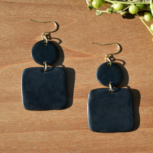 Black Circle and Square Polymer Clay Earrings by JAX Atelier