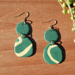 Teal and Cream Lines Polymer Clay Earrings by JAX Atelier