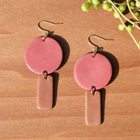 One-of-a-kind Pink and Caramel Polymer Clay Earrings by JAX Atelier