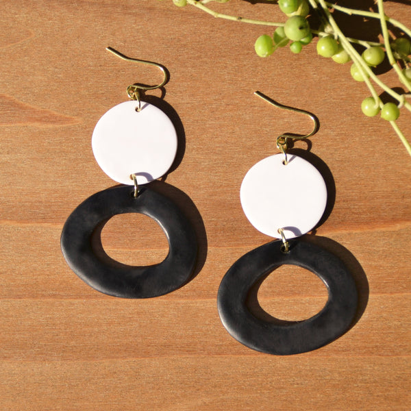 Black-and-White One-of-a-kind Polymer Clay Statement Earrings by JAX Atelier