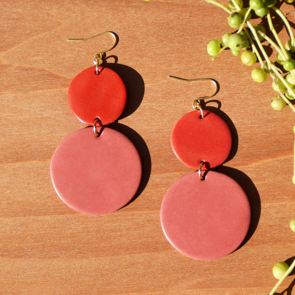 Red and Pink Polymer Clay Earrings