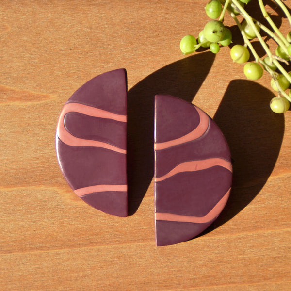 One-of-a-kind Half Moon Polymer Clay Statement Earrings by JAX Atelier