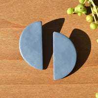 One-of-a-kind Periwinkle Half Moon Polymer Clay Statement Earrings by JAX Atelier