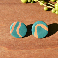 Turquoise Circle Stud Polymer Clay Earrings by JAX Atelier