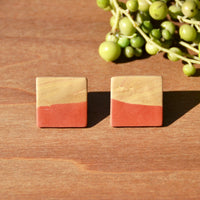 One-of-a-kind Square Stud Polymer Clay Earrings by JAX Atelier