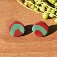 Cranberry and Turquoise Circle Stud Polymer Clay Earrings by JAX Atelier
