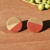 Terra Cotta, Tan and Cream Circle Stud Polymer Clay Earrings by JAX Atelier