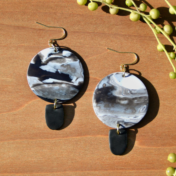 Black-and-White Swirl Polymer Clay Earrings by JAX Atelier