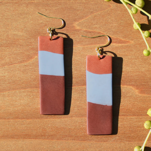 Terra Cotta, Light Blue and Chocolate Polymer Clay Statement Earrings by JAX Atelier