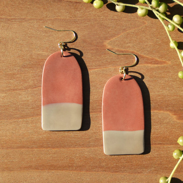 Terra Cotta and Taupe Arch Polymer Clay Statement Earrings by JAX Atelier