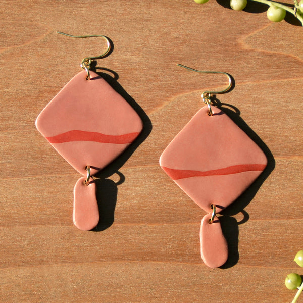 Dusty Rose Diamond Shaped Polymer Clay Statement Earrings by JAX Atelier