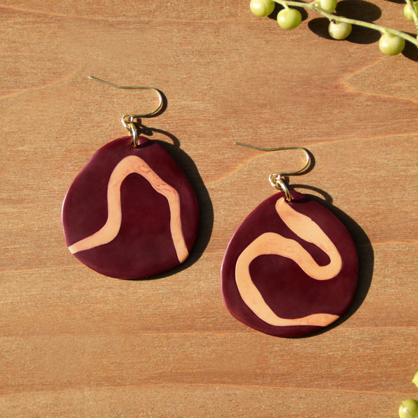 Burgundy and Peach Squiggle Polymer Clay Statement Earrings by JAX Atelier