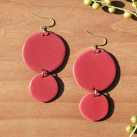 Pink Circles Polymer Clay Statement Earrings by JAX Atelier