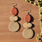Terra Cotta and Tan Polymer Clay Statement Earrings by JAX Atelier