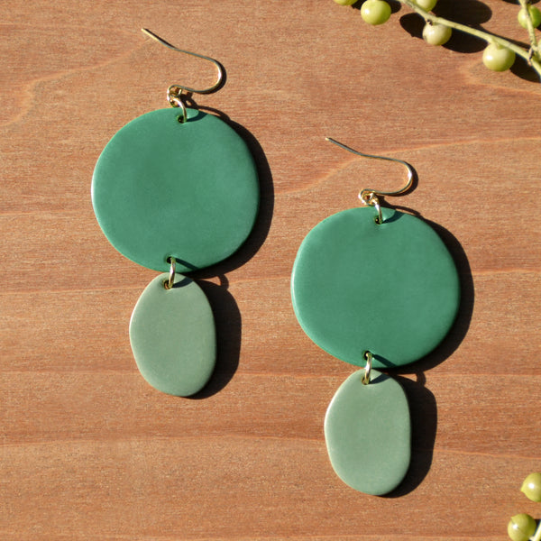 Seafoam and Sage Polymer Clay Statement Earrings by JAX Atelier