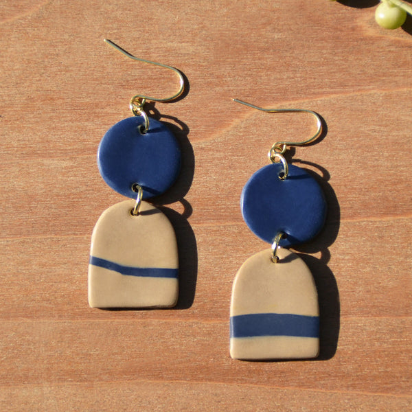 Dark Blue and Tan Polymer Clay Statement Earrings by JAX Atelier