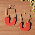 Sculpted Brass Wire and Coral Polymer Clay Statement Earrings by JAX Atelier