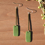 Dark Olive Beads and Olive Polymer Clay Statement Earrings by JAX Atelier