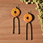 Bronze and Ochre Swirl Polymer Clay Statement Earrings by JAX Atelier