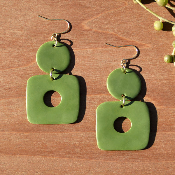 Olive Circle and Square Cutout Polymer Clay Statement Earrings by JAX Atelier