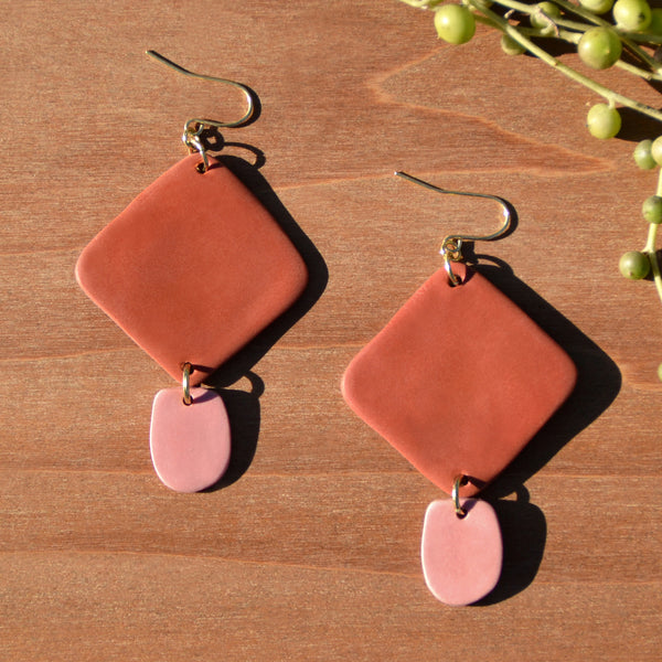 Terra Cotta Diamond Shaped Polymer Clay Statement Earrings by JAX Atelier