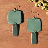 Light and Dark Sage Polymer Clay Statement Earrings by JAX Atelier