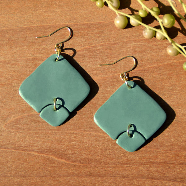 Sea Foam Diamond Shaped Polymer Clay Statement Earrings by JAX Atelier
