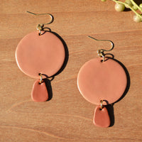 Light Terra Cotta and Drop Polymer Clay Statement Earrings by JAX Atelier