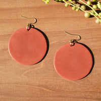 Terra Cotta Disc Polymer Clay Statement Earrings by JAX Atelier