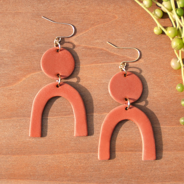 Terra Cotta Arch Polymer Clay Statement Earrings by JAX Atelier
