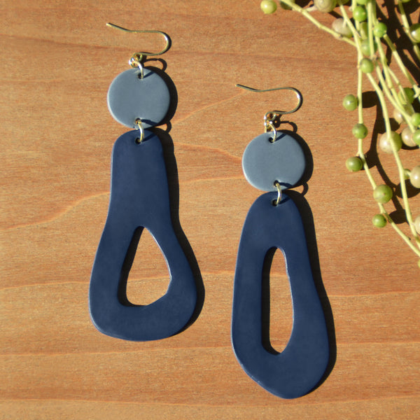 Periwinkle and Navy Abstract Polymer Clay Statement Earrings by JAX Atelier