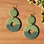 Sage Green Two-toned Circle Polymer Clay Statement Earrings by JAX Atelier