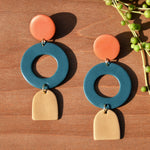 Three-tiered Geometric Polymer Clay Statement Earrings by JAX Atelier