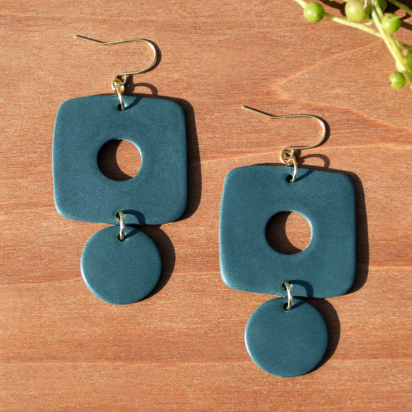 Dark Teal Polymer Clay Statement Earrings by JAX Atelier