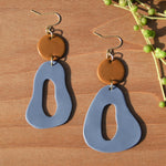 Caramel and Periwinkle Polymer Clay Statement Earrings by JAX Atelier