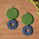 Olive Green and Violet Polymer Clay Statement Earrings by JAX Atelier