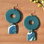 Dark Teal and Drop Swirl Polymer Clay Earrings
