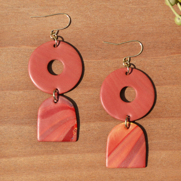 Terra Cotta Drop Swirl Polymer Clay Statement  Earrings by JAX Atelier