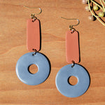 Light Terra Cotta and Periwinkle Polymer Clay Statement Earrings by JAX Atelier