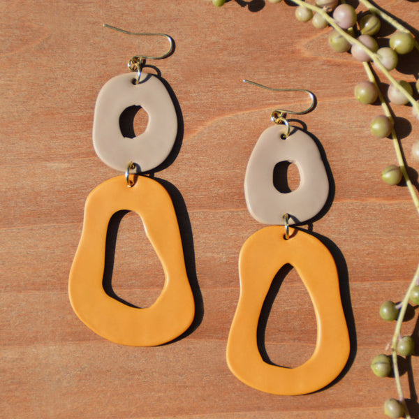 Taupe and Ochre Abstract Polymer Clay Statement Earrings by JAX Atelier