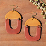 Ochre and Burnt Orange Polymer Clay Statement Earrings by JAX Atelier