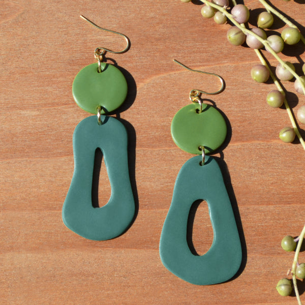 Olive and Teal Abstract Polymer Clay Statement Earrings by JAX Atelier