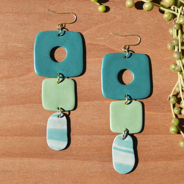 Teal and Sage Polymer Clay Statement Earrings by JAX Atelier