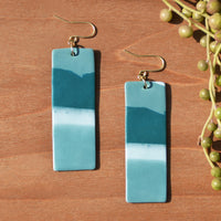 Teal Abstract Rectangular Polymer Clay Statement Earrings by JAX Atelier