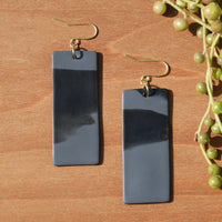 Dark Gray and Black Polymer Clay Statement Earrings by JAX Atelier